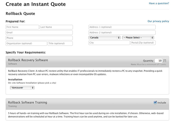Instant online quoting system